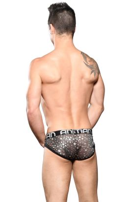 Andrew Christian Almost Naked Black Sheer Star Sparkle Brief