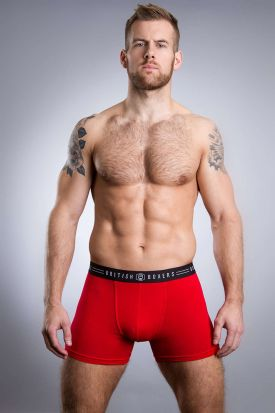British Boxers Stretch Trunk Red