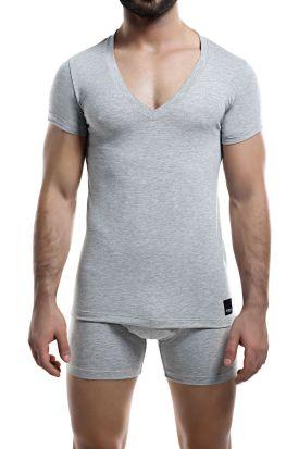 Cut for Men Deep V-neck T-shirt Grey