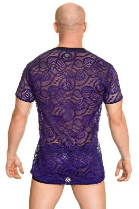 L'Homme Invisible Ocean Life V Neck T-shirt Lilac